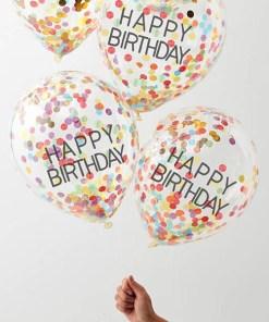 Latexballons HAPPY BIRTHDAY, transparent Golddruck Konfetti bunt, 5er Pack, 31 cm, Beispielbild