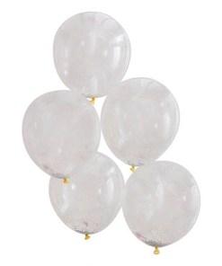 Latexballons transparent, gefuellt mit hunderten pastell-bunten Kuegelchen, D 30 cm