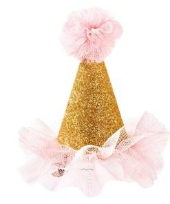 Mini-Ansteckhut, Glitzer mit Tuellrand und Tuellkugel oben, gold-rosa-weiß mit rosa Punkten, H ca. 8 cm, einzeln Beispiel 2