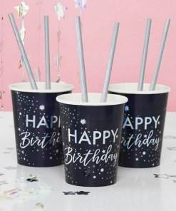 Pappbecher Stargaze ''Happy Birthday'' Sternenmotiv, dunkelblau irisierend, 8er Pack D 8 H 9,5 cm, Dekobeispiel