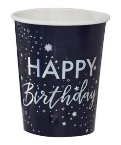 Pappbecher Stargaze ''Happy Birthday'' Sternenmotiv, dunkelblau irisierend, 8er Pack D 8 H 9,5 cm