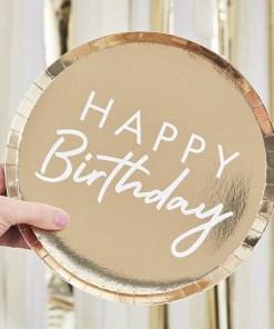 Pappteller HAPPY Birthday, schmaler Rand, gold foliert, Schrift weiß, 8er Pack, D 24 cm, Beispielbild