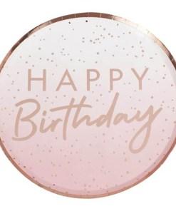 Pappteller ''HAPPY Birthday'' und Punkte, rosa-rosegold foliert, 8er Pack, D 24 cm