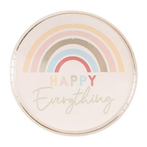 Pappteller ''HAPPY Everything'', puderrosa-Regenbogen pastell-met.gold, D 24 cm