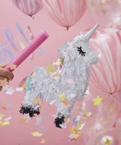 Pinata Einhorn Make a wish, weiß-schwarz, Schlafaugen, 13 x 17,5 cm, Größe und Dekobeispiel