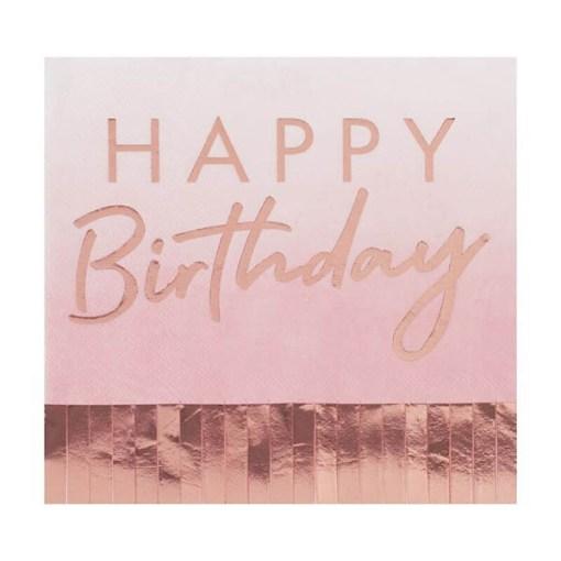 Servietten HAPPY Birthday, mit Fransen, rosa, Foliendruck roségold, 16er Pack, 33 x 33 cm