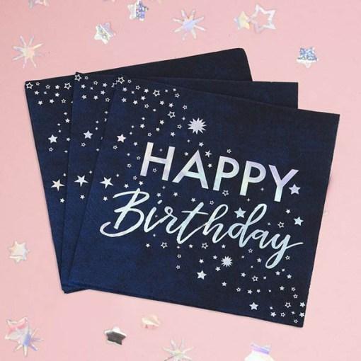 """Servietten Stargazer """"HAPPY Birthday"""" + Sterne, Iris-Silberdruck, 16er Pack, 33 x 33 cm, gefächert"""