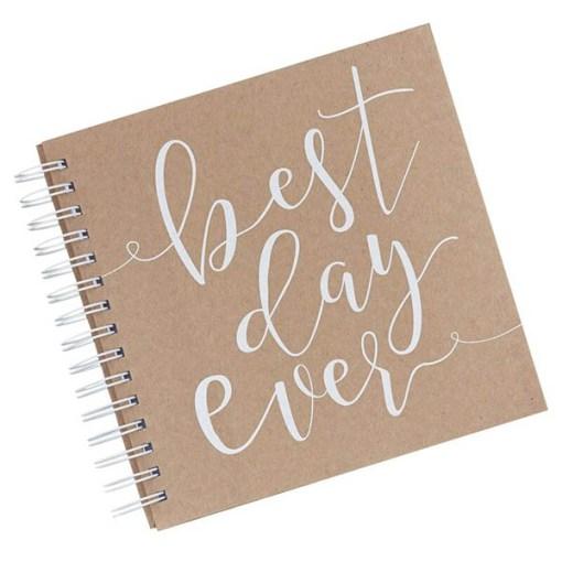 Spiral-Gästebuch, best day ever, 20 Seiten, pro Seite 4 Umschläge plus Karten zum Ausfüllen, 21 x H 20,5 cm