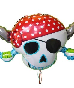 Pirat, Totenkopf mit Augenklappe, Säbeln und Kopftuch, Folienballon