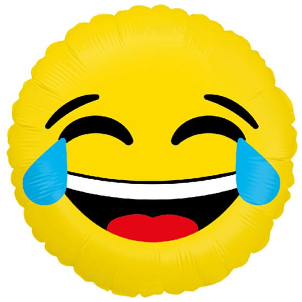 Smiley lachend, Folienballon, rund, 45cm