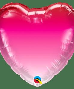 18'' Herz Pink Ombre, rot-pink-rosa Farbverlauf