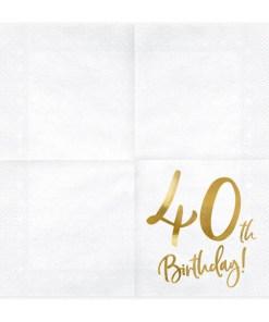 40th Birthday, Servietten, weiß mit goldenem Schriftzug, dreilagig, 20 Stk., 33 x 33 cm, aufgefaltet