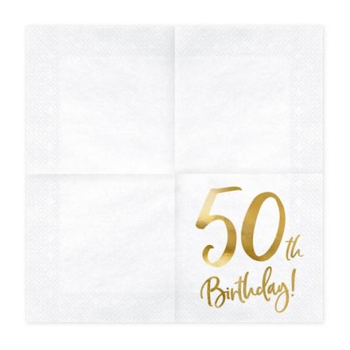 50th Birthday, Servietten, weiß mit goldenem Schriftzug, dreilagig, 20 Stk., 33 x 33 cm, entfaltet
