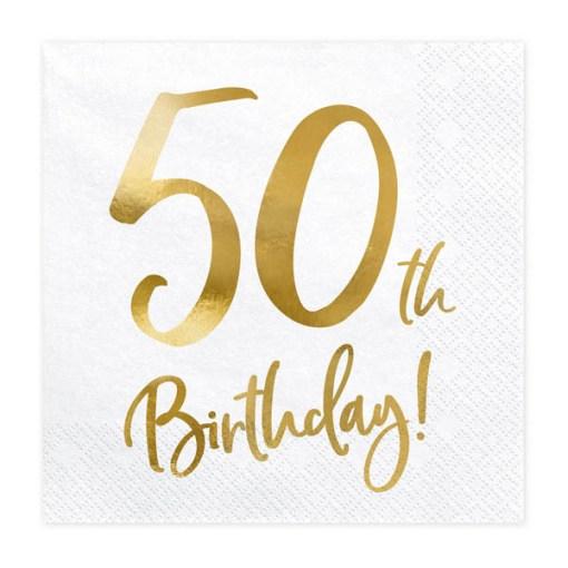 50th Birthday, Servietten, weiß mit goldenem Schriftzug, dreilagig, 20 Stk., 33 x 33 cm
