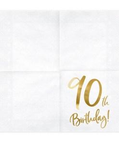90th Birthday, Servietten, weiß mit goldenem Schriftzug, dreilagig, 20 Stk., 33 x 33 cm, entfaltet