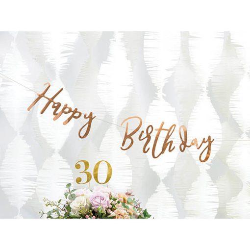 Banner ''Happy Birthday'' Papier, Rosegold, 16,5 x 62 cm, Dekobeispiel 3