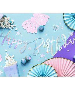 Banner, ''Happy Birthday'', Papier, irisierend, 16,5 x 62 cm, Dekobeispiel