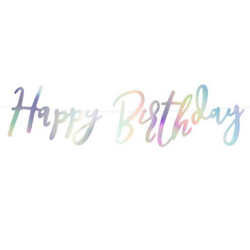 Banner, ''Happy Birthday'', Papier, irisierend, 16,5 x 62 cm