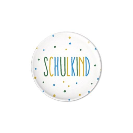 Button Schulkind, Konfetti blau, D32mm