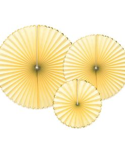 Dekofaecher ''Yummy'', hellgelb, Goldrand, 3er Set, D. 40, 32, 23 cm