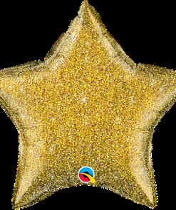 Glittergrafik Gold, Stern, Folienballon, 45 cm