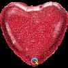 Glittergrafik Rot, Herz, Folienballon, 45 cm
