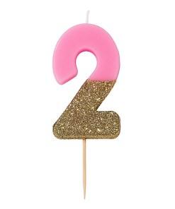 Kerze, Geburtstagskerze, Zahl 2, pink, unten Goldglimmer, circa 6 cm, einzeln, Zahl von 0-9 waehlbar