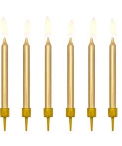 Kerzen, Gold, 6er Pack , mit Halter, 6 cm
