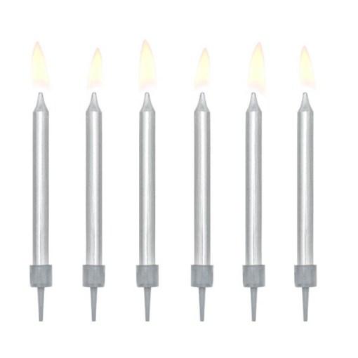 Kerzen, Metallic Silver, 6er Pack , mit Halter, 6 cm