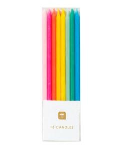 Kerzen, lang, duenn, 16er Box, rosa, mint, gruen, blau, neonpink, neonorange, D 0,5 H 10 cm, Packung