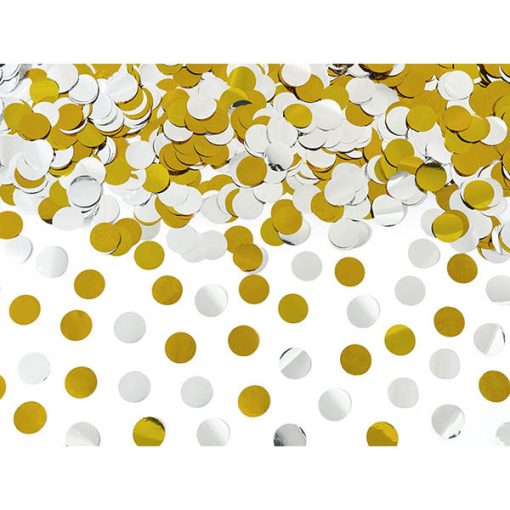 Konfettishooter, Folienkonfetti, Kreise, silber, gold, Reichweite ca. 5-8 m, L 80 cm, Konfettibeispiel