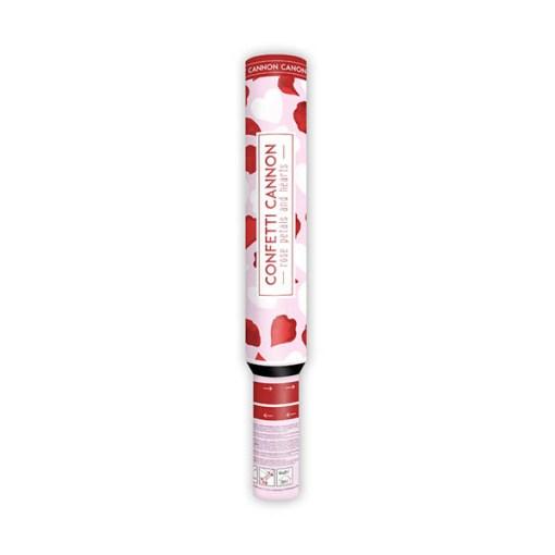 Konfettishooter, Rosenblaetter rot + Seidenpapierherzen weiss, 50cm