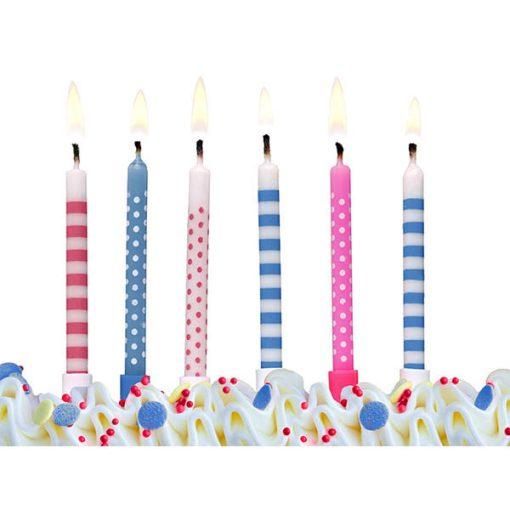 Kuchenkerzen mit Stecker, gemischt, Punkte und Streifen, L 6,5 cm, Dekobeispiel