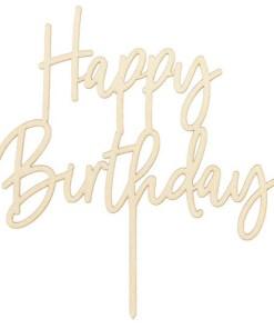 Kuchentopper ''Happy Birthday''-Schriftzug, Holz, 15 x 16 cm