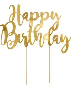 Kuchentopper, ''Happy Birthday'', gold, 22,5cm