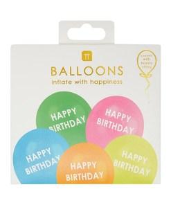 Latexballons HAPPY BIRTHDAY, 5 Regenbogenfarben sort., Druck weiss, D 30 cm, 5er Pack, Packung
