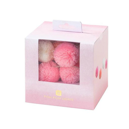 Lichterkette m. Pompoms, rosa, pink, weiss, 20 LED Lämpchen, L 2 m