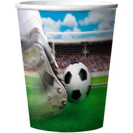 Papp-Becher ''Fussball'', 3D-Folie, Motiv Torschuss, 4er Pack, 266 ml