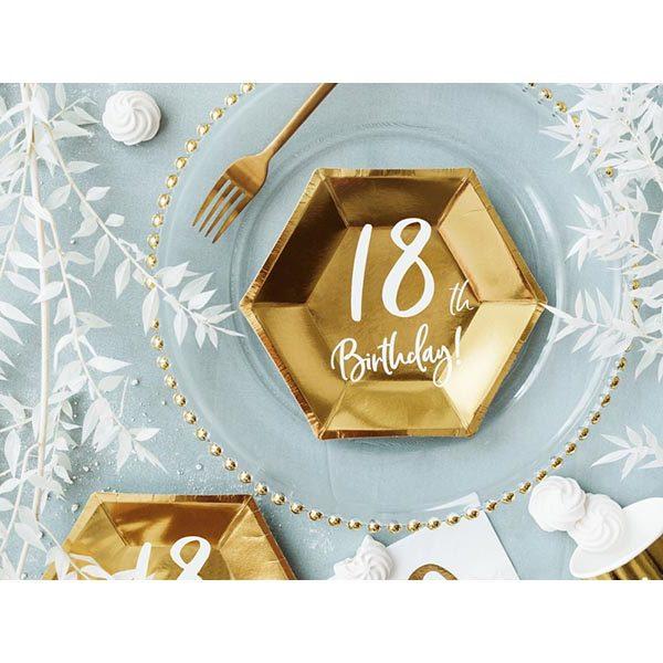 Pappteller ''18th Birthday'', met.gold, Schrift weiss , 6-eckig, 6er Pack, D 20 cm, Dekobeispiel