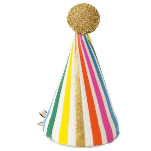 Partyhut mit Clip, glitter-weiss, bunt gestreift, grosser Glitterpom gold, D 5 H 9 cm