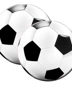 Serviette in Fussballform, rund, schwarz-weiß, 20er Pack, 33 x 33 cm