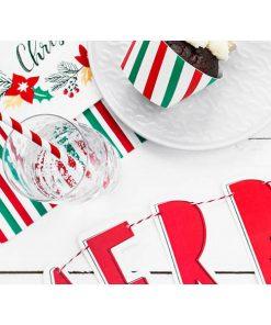 Servietten, Streifen gruen, weiß, rot, 20er Pack, 33 x 33cm, Dekobeispiel