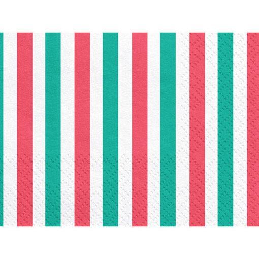 Servietten, Streifen gruen, weiß, rot, 20er Pack, 33 x 33cm, detail