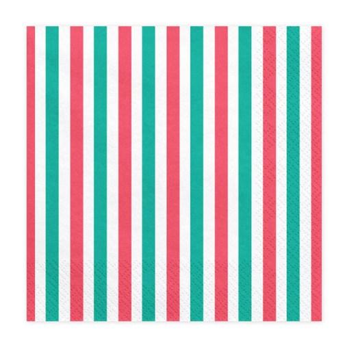 Servietten, Streifen gruen, weiß, rot, 20er Pack, 33 x 33cm