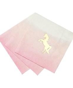 Servietten, pink zu hellblau werdend, Einhorndruck, gold, 25 x 25 cm, 16 Stk, Papier, gefaechert