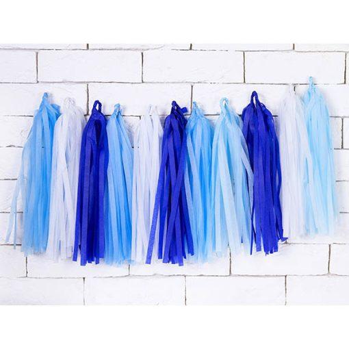 Tasselgirlande, 12 Seidenpapier-Quasten blau, h'blau, türkis, weiß, H 30 cm L 150 cm, Dekobeispiel