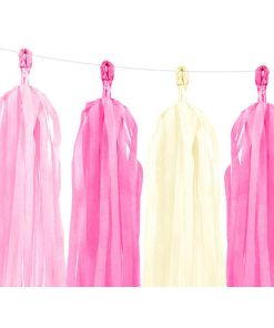 Tasselgirlande, 12 Seidenpapier-Quasten rosa, pink, creme, H 30 cm L 150 cm, Detail