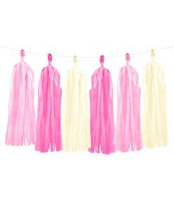 Tasselgirlande, 12 Seidenpapier-Quasten rosa, pink, creme, H 30 cm L 150 cm
