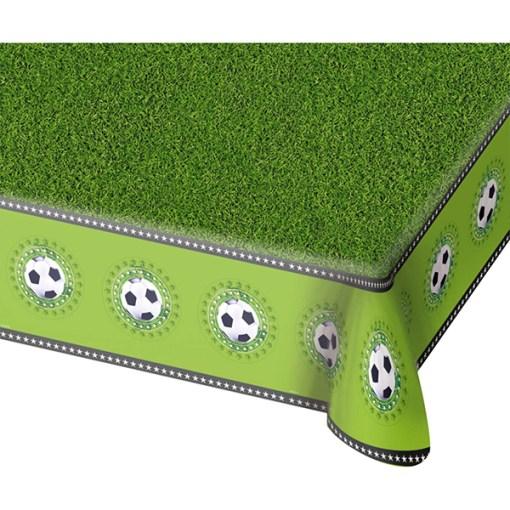 Tischdecke ''Fussball'', Rasen, umlaufend Fussbälle, Kunststoff, 180 x 130 cm