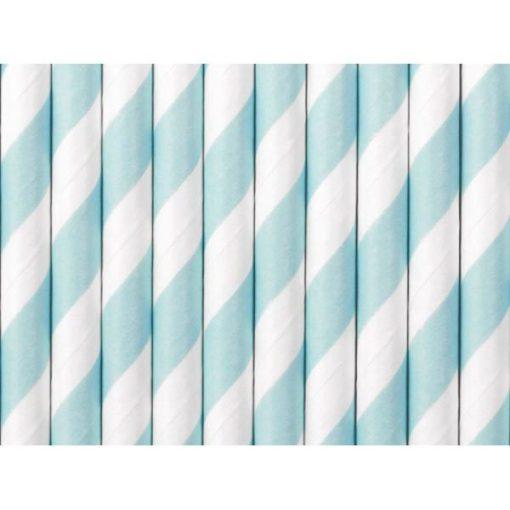Trinkhalme, Papier, Spirale weiss, hellblau, 10er Pack, L 19,5 cm